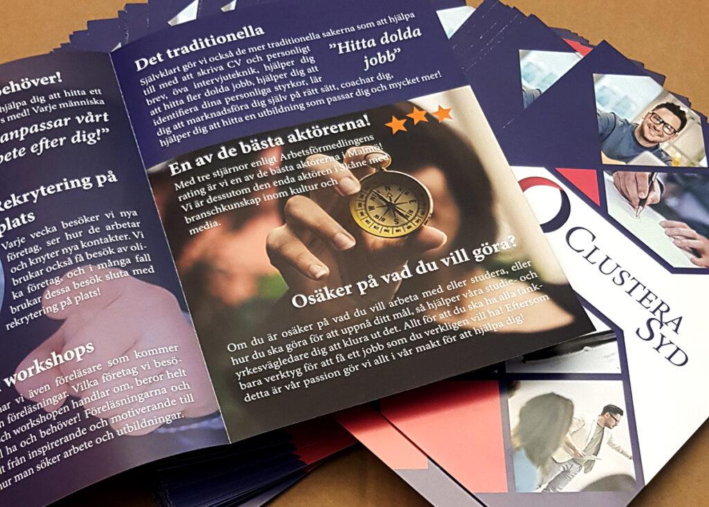 kundprojekt webbyrå marknadsföring broschyr Clustera